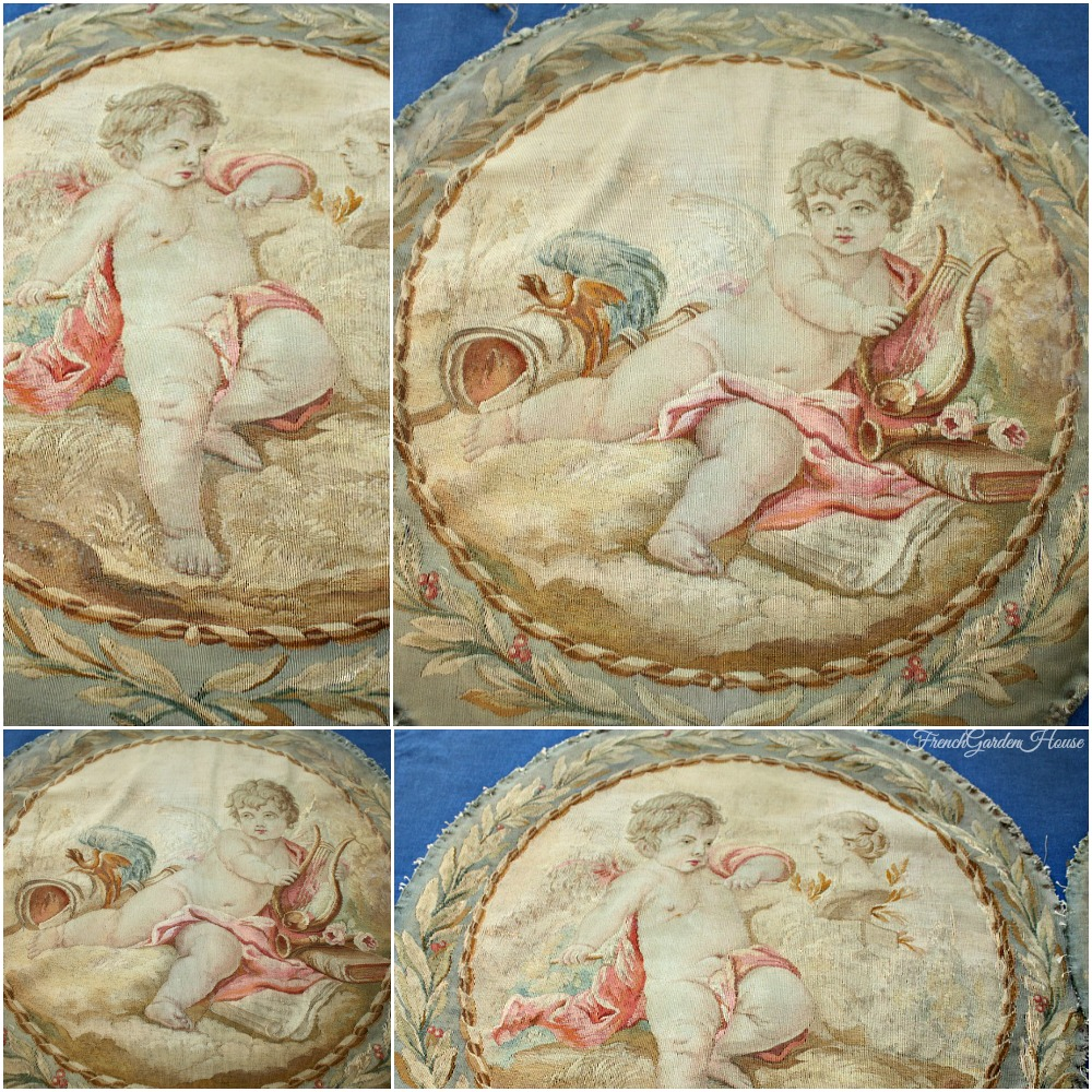 Pair of Antique French Tapestry Pillow Covers Cherub & Roses 1820