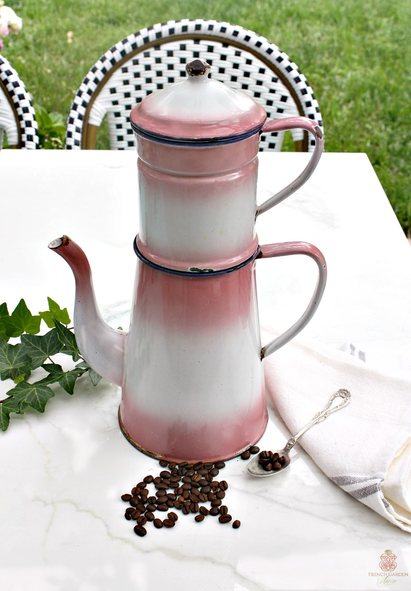 Antique 19th Century French Enamelware Pink Biggin Cafetiere