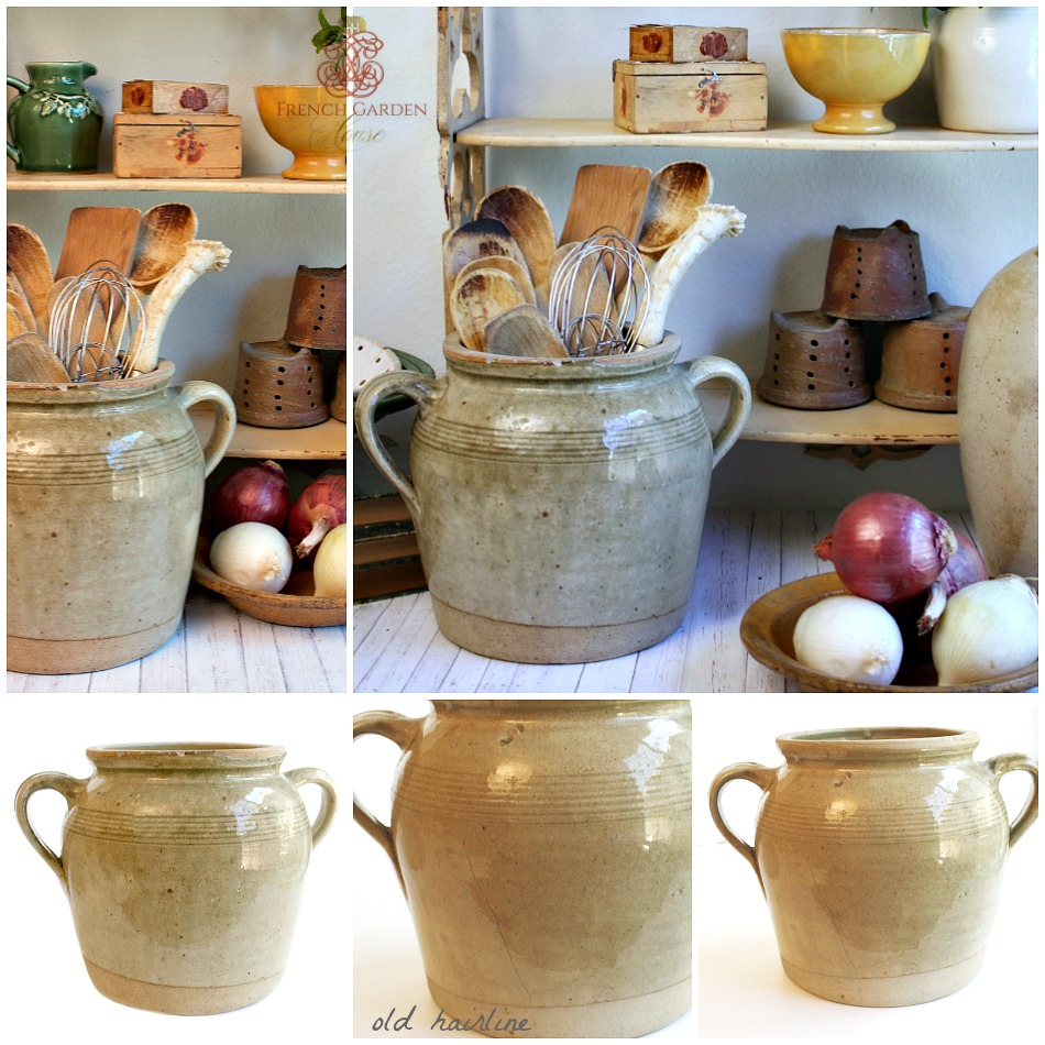 French Kitchen Garden: Antique French Pot En Gres Enameled Storage Crock Jar