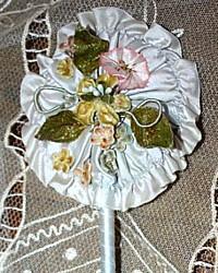 Antique French Silk Floral Ribbon Work Powder Puff Wand