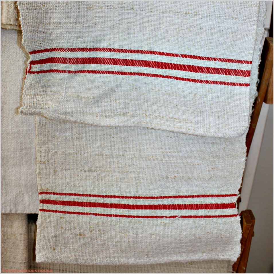 Antique Linen French Kitchen Towel Red Triple Stripe