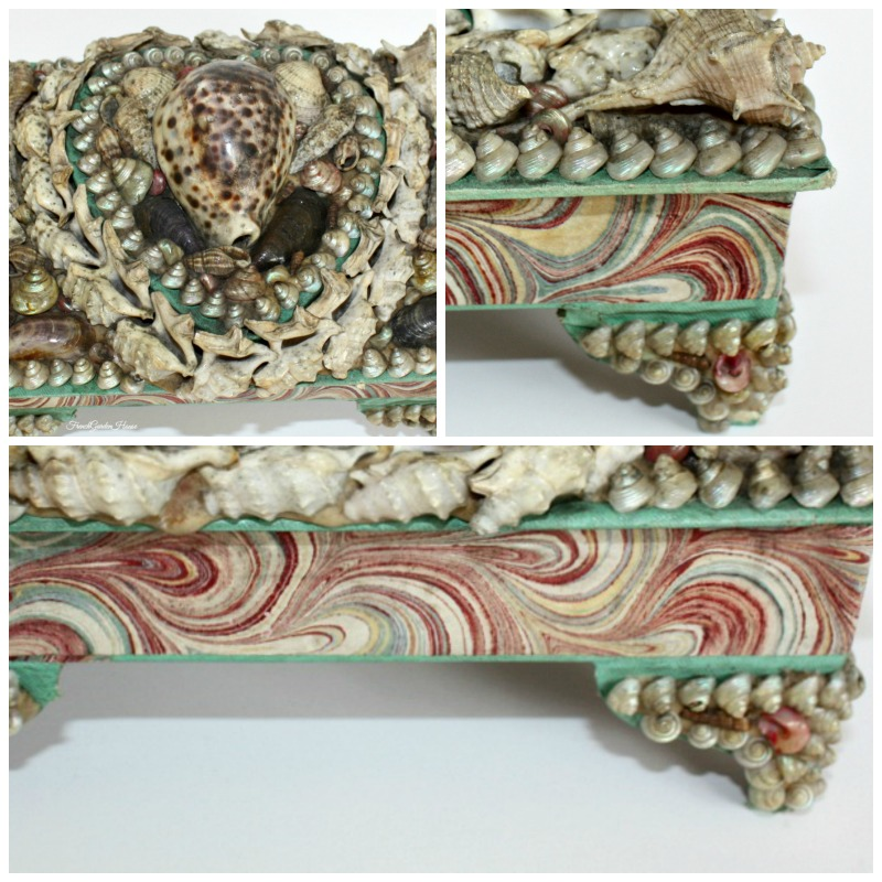 Antique French Sailor's Valentine Shell Art Work Box