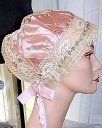 Rare Vintage French Lavender Silk Ribbonwork Estate Lace Boudoir Cap