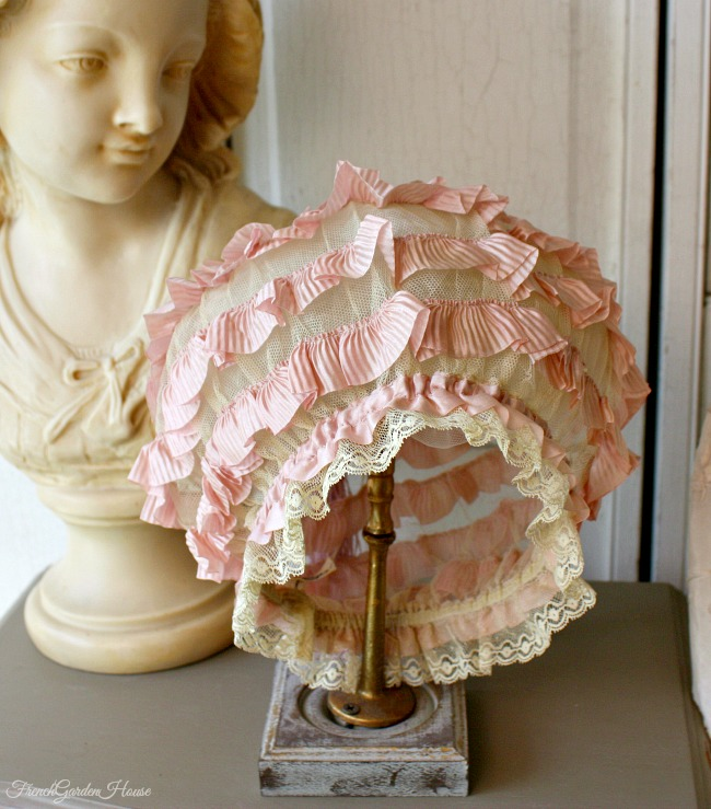 Antique French Lavender Silk Ribbon & Lace Boudoir Cap