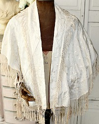 Antique 19th Century Canton Wedding Silk Hand Embroidered Cloak Shawl