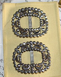 Antique French Steel Cut Shoe Buckles Pair on Card