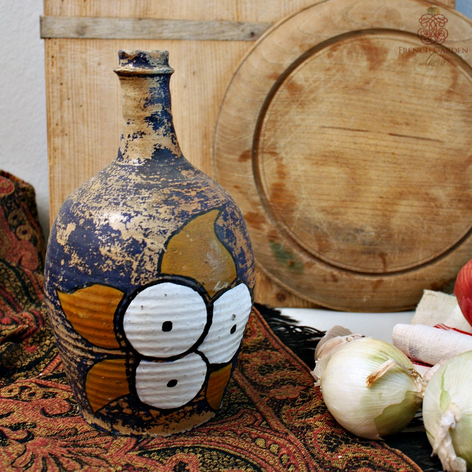 Antique French Hand Painted Stoneware Wine Bottle Tournesol