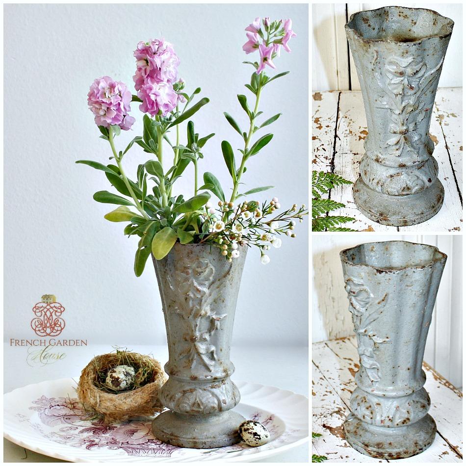Antique French Art Nouveau Cast Iron Vase Pansy