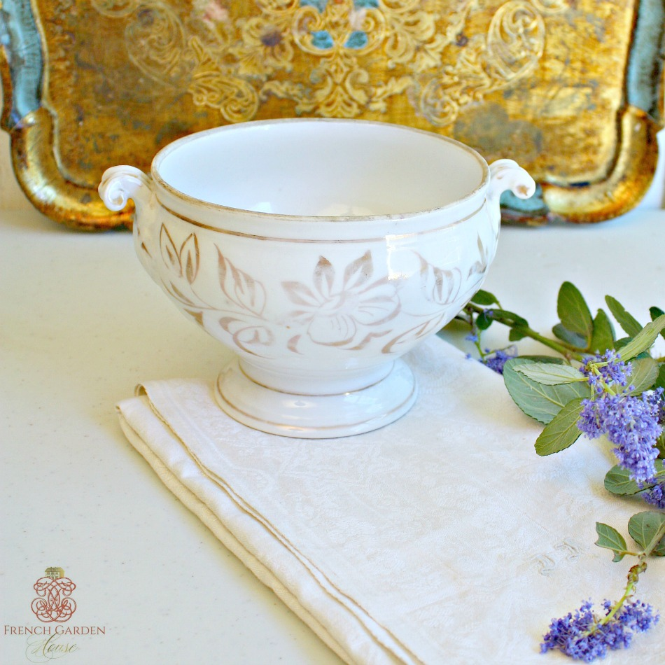 Antique White and Gold Marriage Wedding Gift Tureen