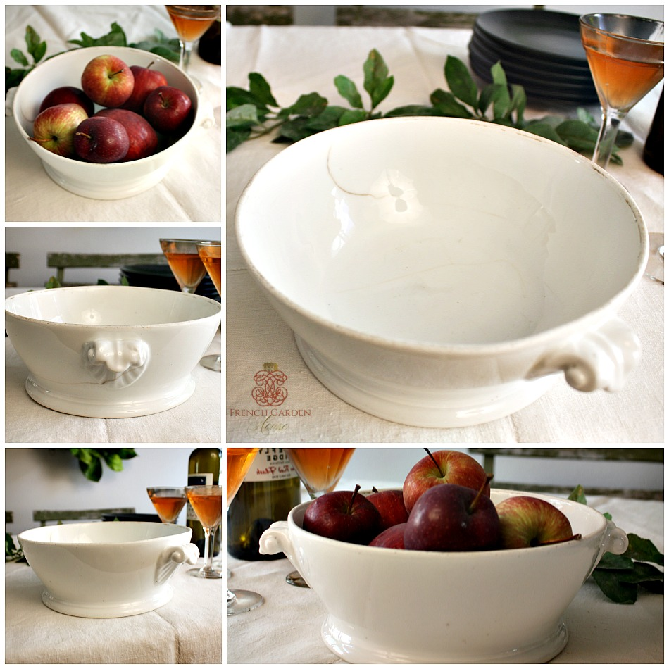Antique French Country White Serving Bowl