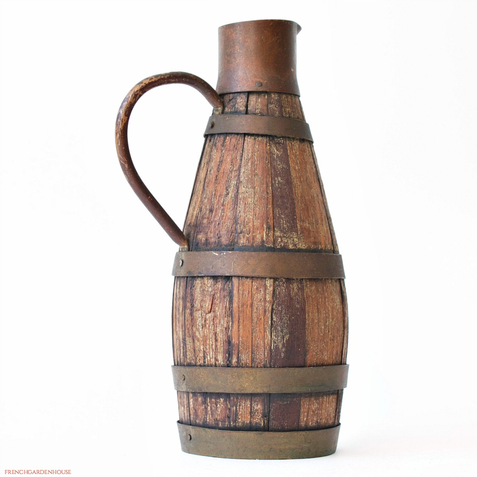 Antique French Vineyard Wooden Oak Stave Wine Pitcher Or