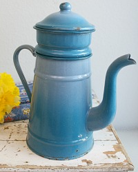 Antique French Enamel Blue Large Coffee Pot Biggin