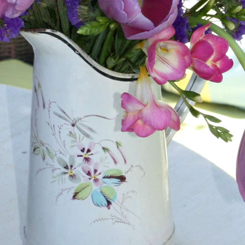 Antique French Enamel Pitcher with Hand Painted Floral Design