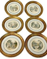 French Miniature Court Portrait Set of 6