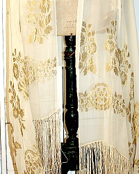 Rare 1920's French Gold Lam� & Silk Chiffon Fringe Shawl
