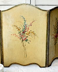 Antique French Hand Painted Wood Toleware Tabletop Screen