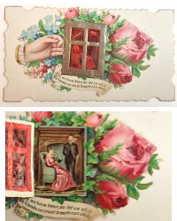Rare Antique Calling Card Gelatine Window Roses