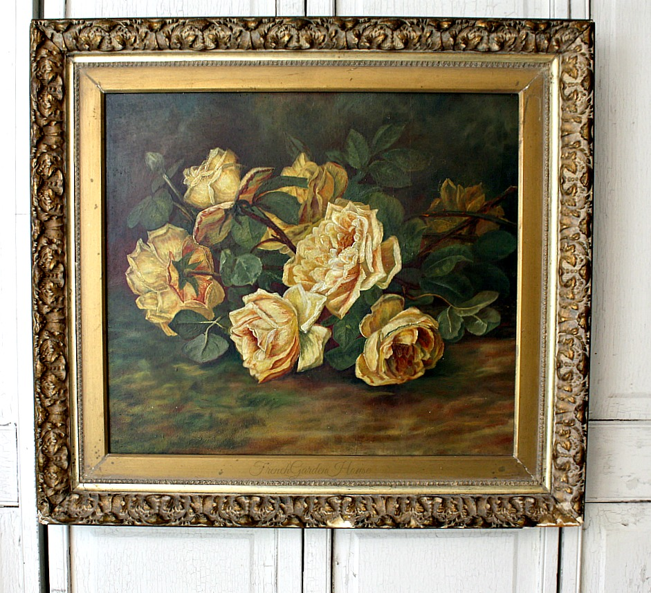 19th Century Antique Gold Rose Oil Painting Original Gilt