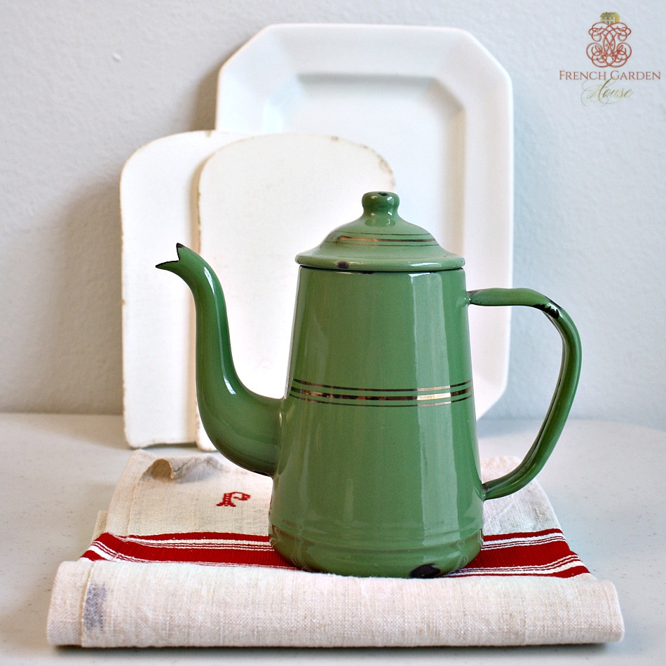 Antique French Green Enamelware Coffee Pot