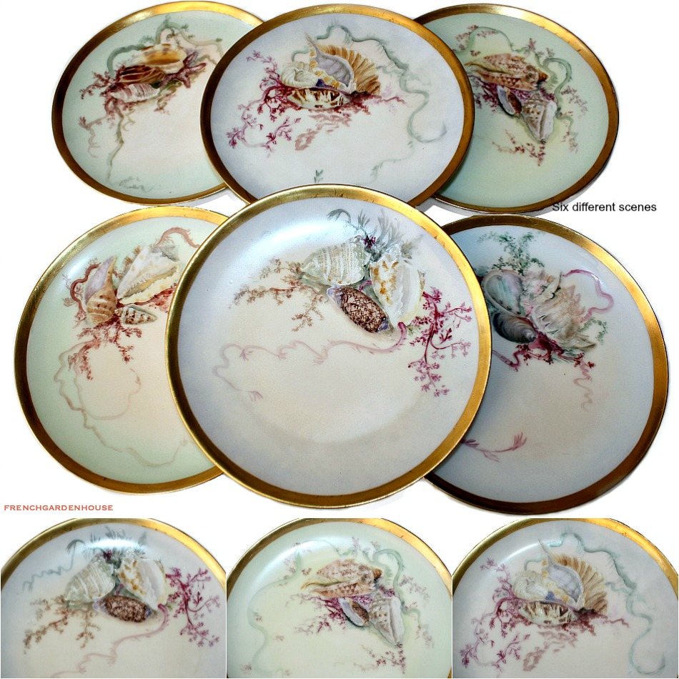 Antique Limoges Haviland Hand Painted French Shell Seafood