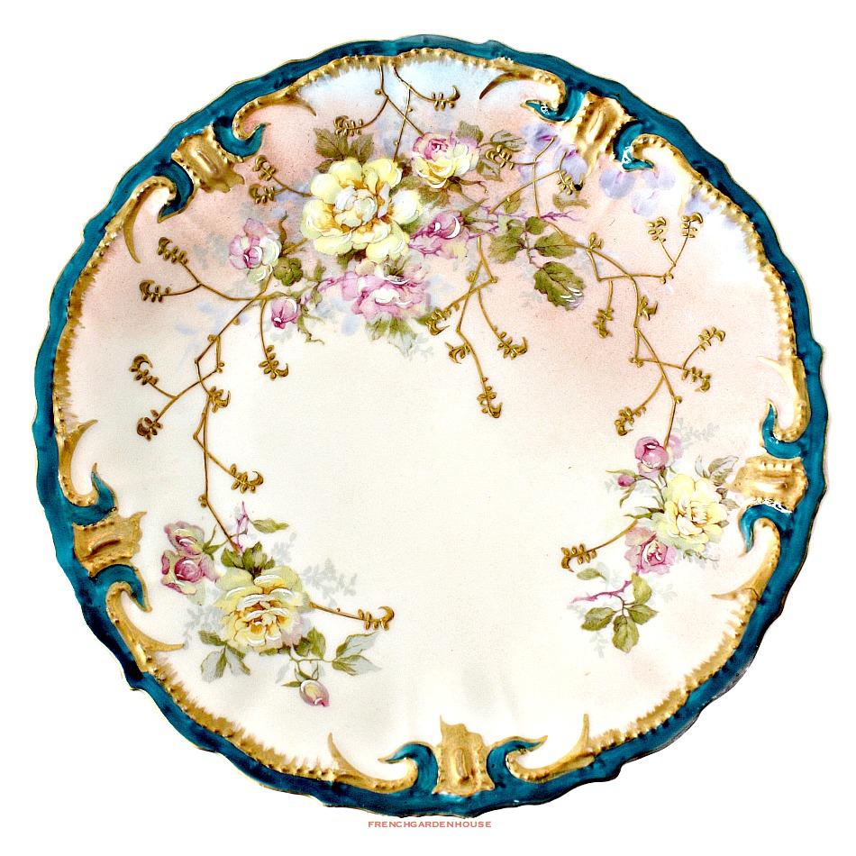 Antique Limoges France Cabinet Plate Pink Roses Teal
