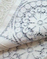 Antique Hand Embroidered Cutwork & Lace Linen Tablecloth Light Blue Roses