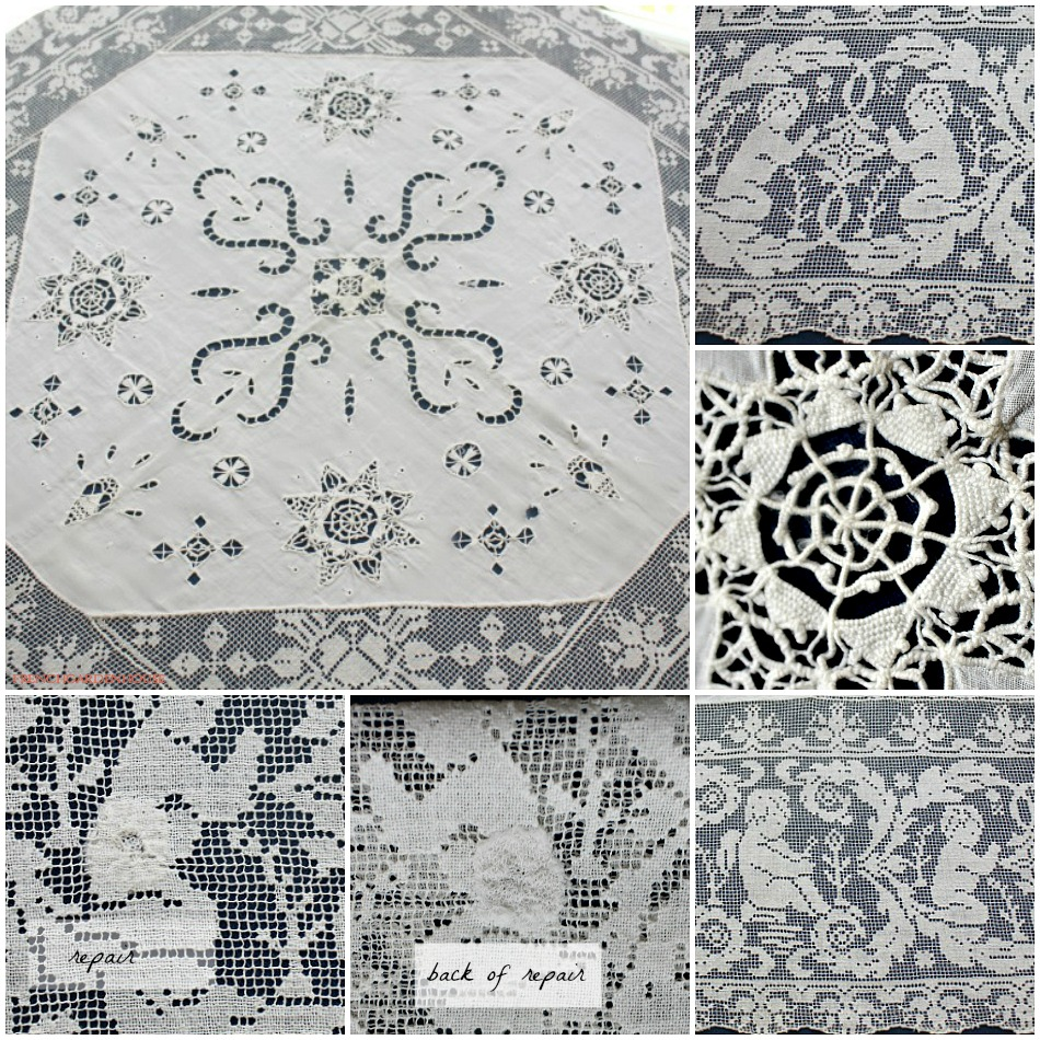 Antique Italian Hand Made Filet Lace Table Topper Cherubs