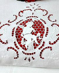 Antique Italian White Cut Work Cherub Lay Over Double Sheet Cover or Sham