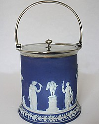 Antique Wedgwood Jasper Dip Blue Biscuit Barrel Jar