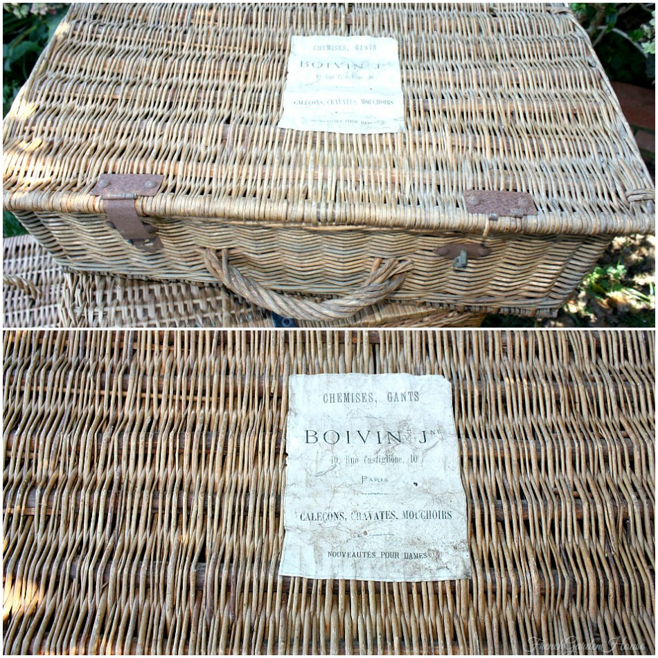 Antique French Willow Storage Trunk with Paper Label Paris