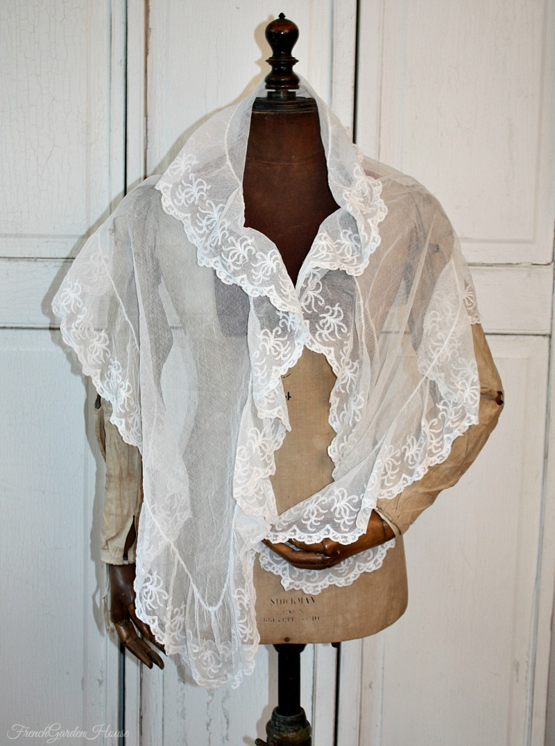 Antique Silk Irish Limerick Needlelace Lace Fichu Veil