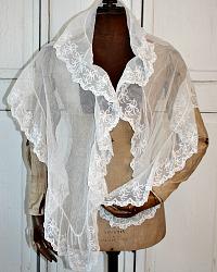 Antique Silk Irish Limerick Needlelace Lace Fichu Veil