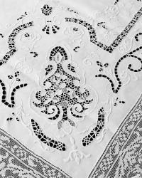 Antique Heirloom Linen Italian Needlepoint Lace Tablecloth Roses 12 Napkins