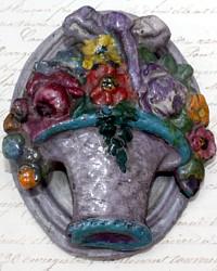 Rare 1920's Cast Iron Hubley Door Knocker Flowers in Basket Lavender Purple