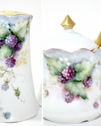Antique Hand Painted Porcelain Purple Berries Gilt Mustard and Salt & Pepper Set