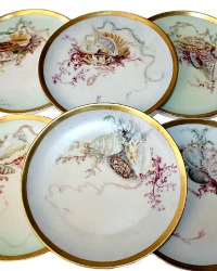 Antique Limoges Haviland Hand Painted French Shell Seafood Plates Set of 6