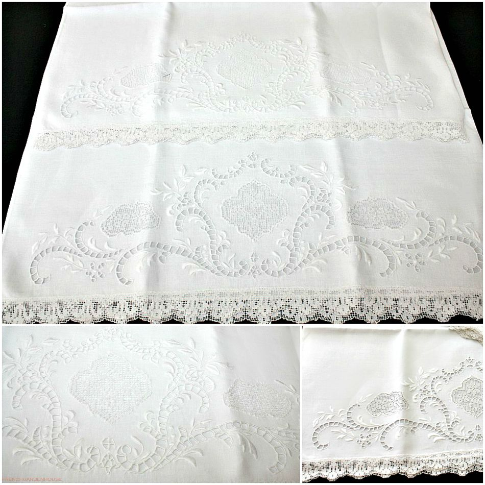 Antique Irish Linen Pillowcases Hand Embroidered Lace