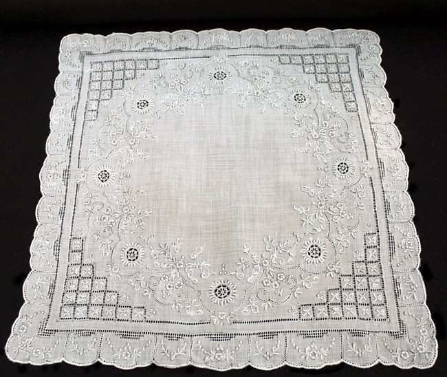 Antique Appenzell Embroidered Swiss Linen Wedding Bridal Handkerchief #3