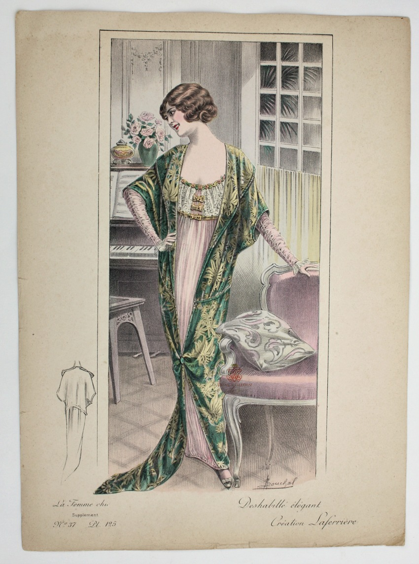 Antique French Hand Colored Fashion Print Lingerie Laferriere