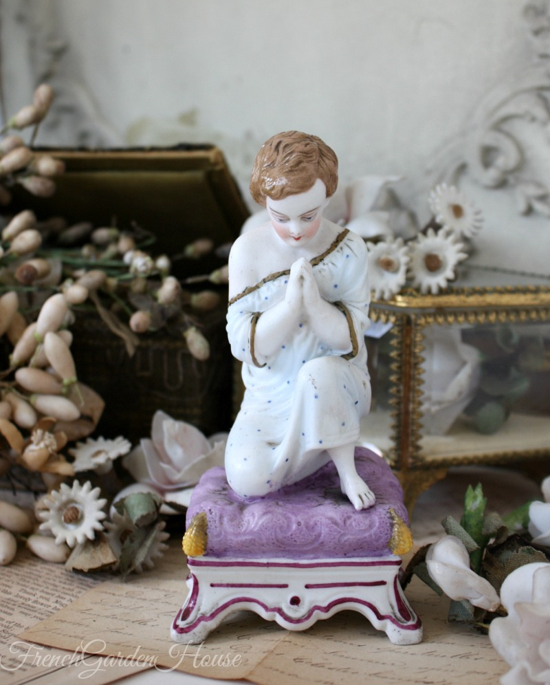 Antique French Old Paris Vieux Paris Bisque Porcelain Evening Prayer Figure