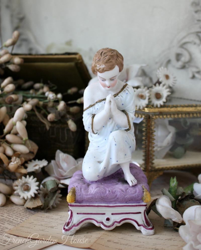 Antique French Old Paris Vieux Paris Bisque Porcelain Evening Prayer Figure
