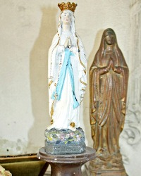 Antique 19th Century French Metal Madonna Virgin of Notre Dame de Lourdes Souvenir