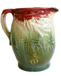 Antique Majolica Acorn & Pine Bough Pitcher