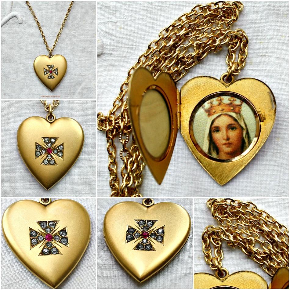 Estate Antique Heart Locket Gold Maltese Cross