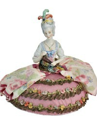 Antique Porcelain German Half Doll Arms Away Pin Cushion