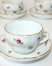 Antique Teichert Meissen Scattered Flower Porcelain Tea Cup & Saucer