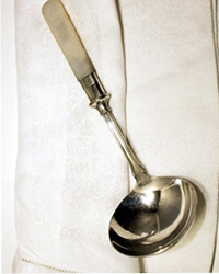 Antique Mother of Pearl & Silver Gravy or Sauce Ladle