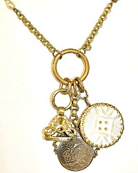 Victorian Mother of Pearl Watch Fob Necklace | Antique Button Collection