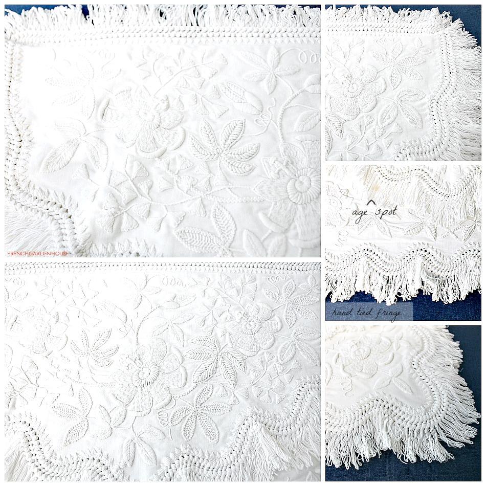 Rare 19th Century Hand Made Whitework Nightdress Case Mountmellick Clematis