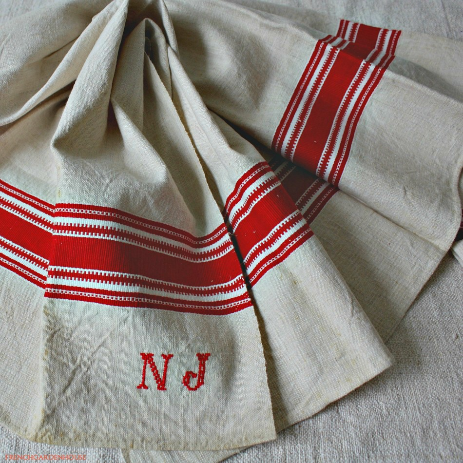 Antique 19th Century Hand Woven Linen Red Monogram N J Towel B